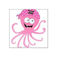 "Pink Pirate Octopus Square Sticker 3"" x 3"""