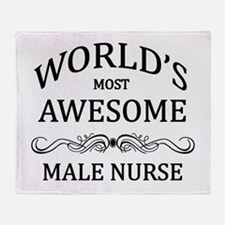 World's Most Awesome Male Nurse Throw Blanket