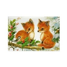 Baby Foxes Rectangle Magnet