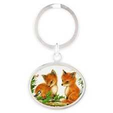 Baby Foxes Oval Keychain