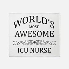 World's Most Awesome ICU Nurse Throw Blanket