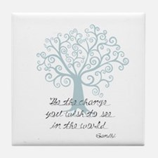 Be the Change Tree Tile Coaster
