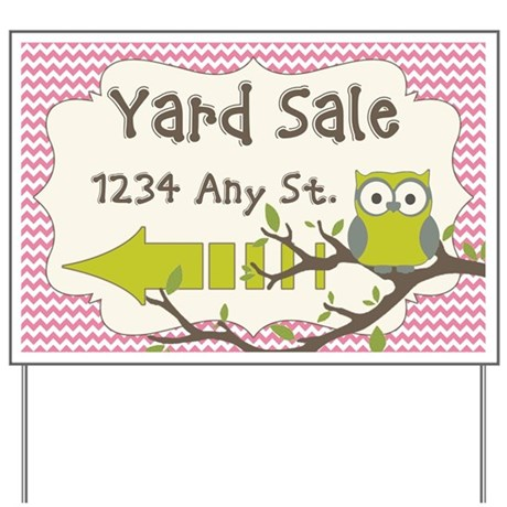 Owl Chevron Yard Sale Sign