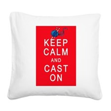 Keep Calm and Cast On Knitting Design Square Canva