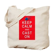 Keep Calm and Cast On Knitting Design Tote Bag