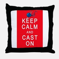 Keep Calm and Cast On Knitting Design Throw Pillow