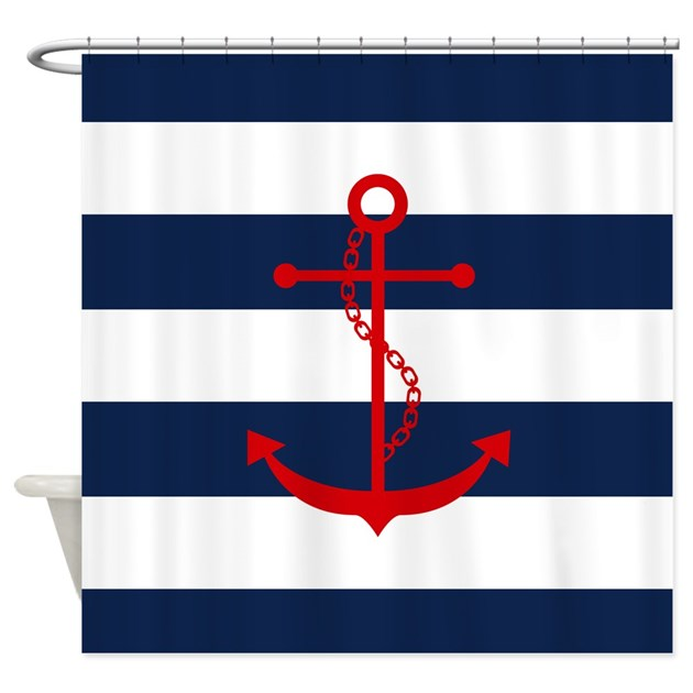 Red Anchor on Blue Stripes Shower Curtain by mcornwallshop. Red And Blue Shower Curtain. Home Design Ideas