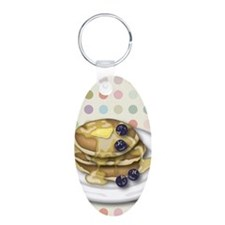 Pancakes With Syrup And Blueberries Keychains