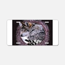 Lace Wolf Aluminum License Plate
