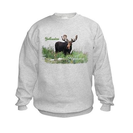 Yellowstone WY Moose Kids Sweatshirt