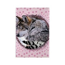 Lace Wolf Rectangle Magnet