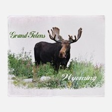 Grand Tetons WY Moose Throw Blanket