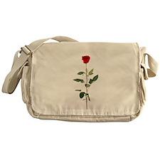 Single Red Long Stem Rose Messenger Bag