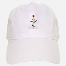 Single Red Long Stem Rose Baseball Baseball Cap