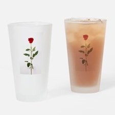 Single Red Long Stem Rose Drinking Glass