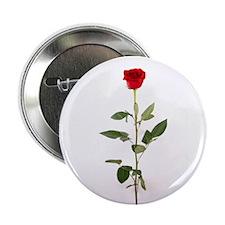 "Single Red Long Stem Rose 2.25"" Button"