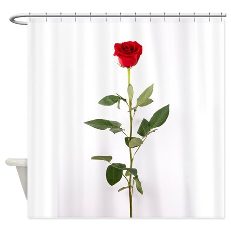 Single Red Long Stem Rose Shower Curtain By