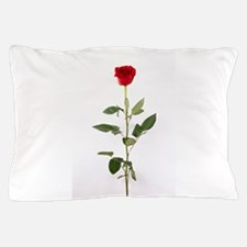 Single Red Long Stem Rose Pillow Case