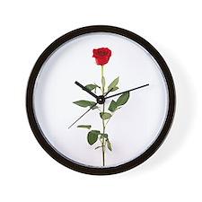 Single Red Long Stem Rose Wall Clock