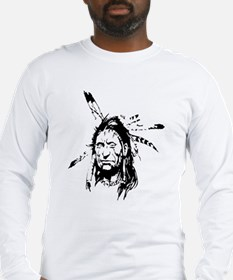 Native Warrior Four Feathers Long Sleeve T-Shirt