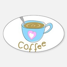 whimsical coffee Oval Decal