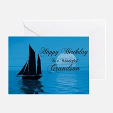 Birthday card for grandson with sunset yacht Greet