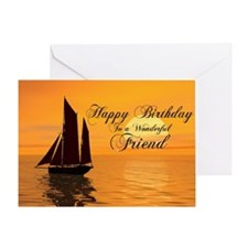Birthday card for friend with sunset yacht Greetin