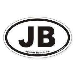 Jupiter Beach JB Euro Oval Decal