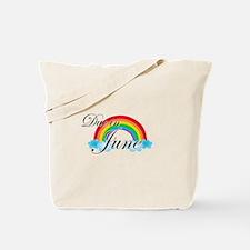 Due in June Rainbow Tote Bag