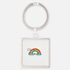 Due in October Rainbow Square Keychain