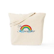 Due in November Rainbow Tote Bag