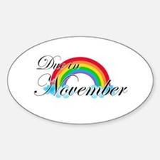 Due in November Rainbow Sticker (Oval)
