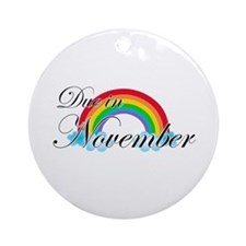 Due in November Rainbow Ornament (Round)