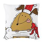 Funny Christmas Dog Woven Throw Pillow
