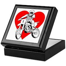 I love dirt biking with a red heart Keepsake Box