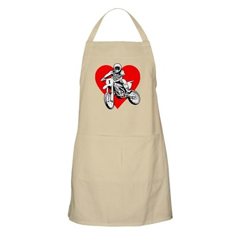 I love dirt biking with a red heart BBQ Apron