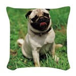 Cute Pug Woven Throw Pillow