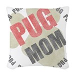 Pug Mom Woven Throw Pillow