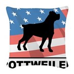 Patriotic Rottweiler Woven Throw Pillow