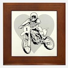 I love dirt biking with a heart Framed Tile