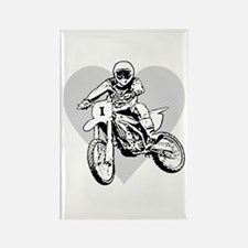 I love dirt biking with a heart Rectangle Magnet