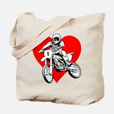 I love dirt biking with a red heart Tote Bag