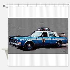 1980s police car, NYC Shower Curtain