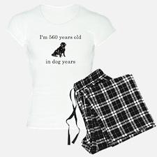 80 birthday dog years lab Pajamas