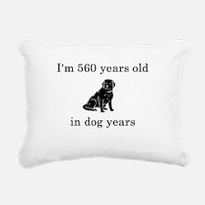 80 birthday dog years lab Rectangular Canvas Pillo