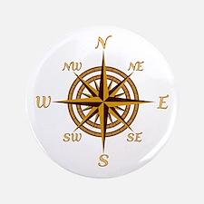 """Vintage Compass Rose 3.5"""" Button"""