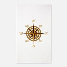 Vintage Compass Rose 3'x5' Area Rug