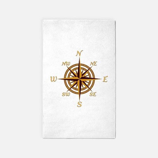 Vintage Compass Rose 3'x5' Area Rug