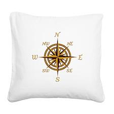 Vintage Compass Rose Square Canvas Pillow