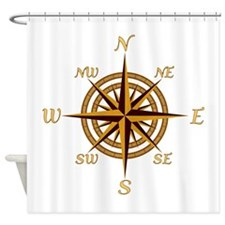 Vintage Compass Rose Shower Curtain